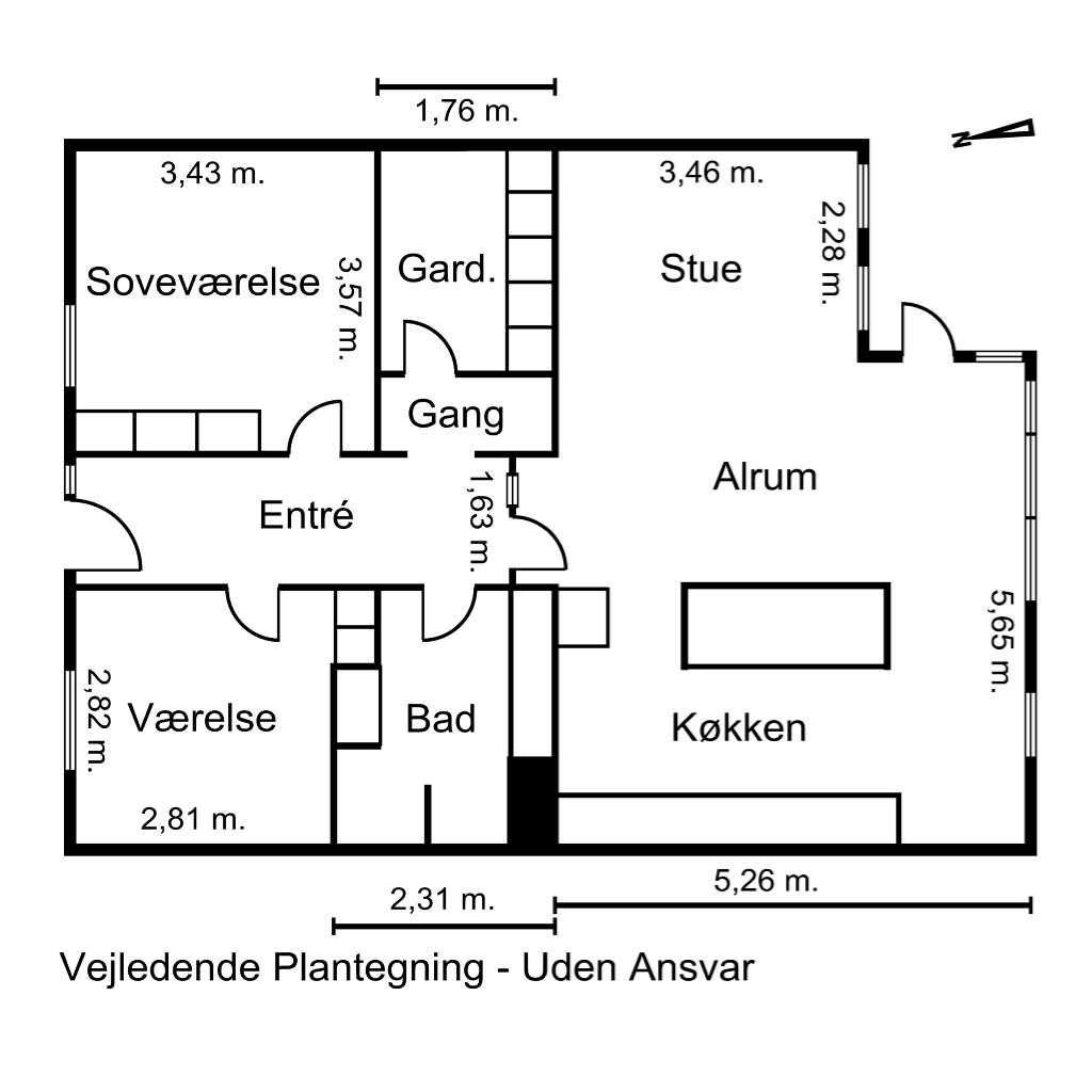 Andelsbolig på Gammel Flensborgvej i Aabenraa - Plantegning