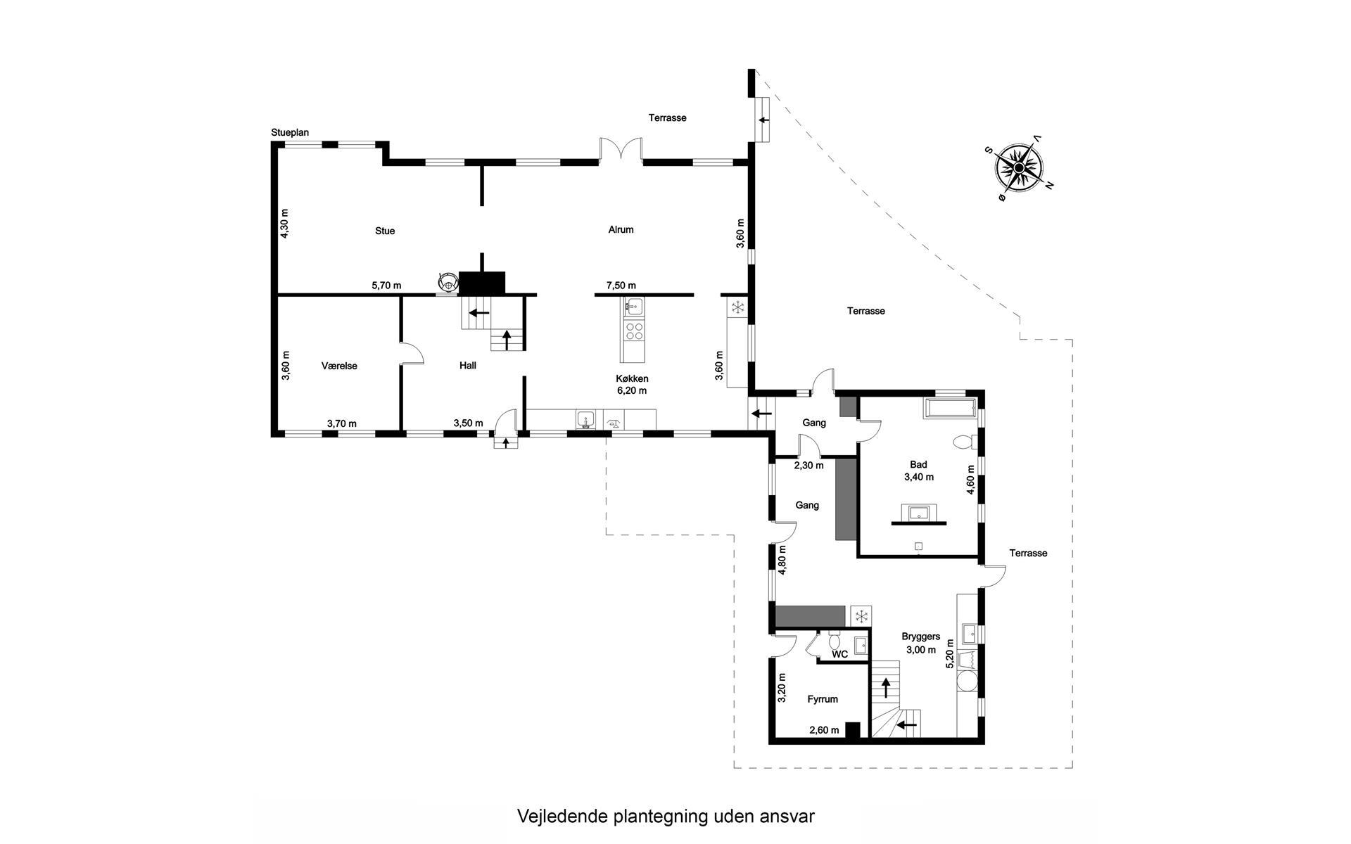 Landejendom på Langesøvej i Vissenbjerg - Plantegning