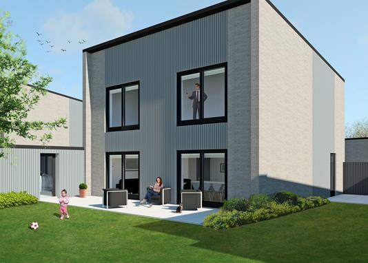 Villa på Skæring Enge i Egå - Facade havesiden