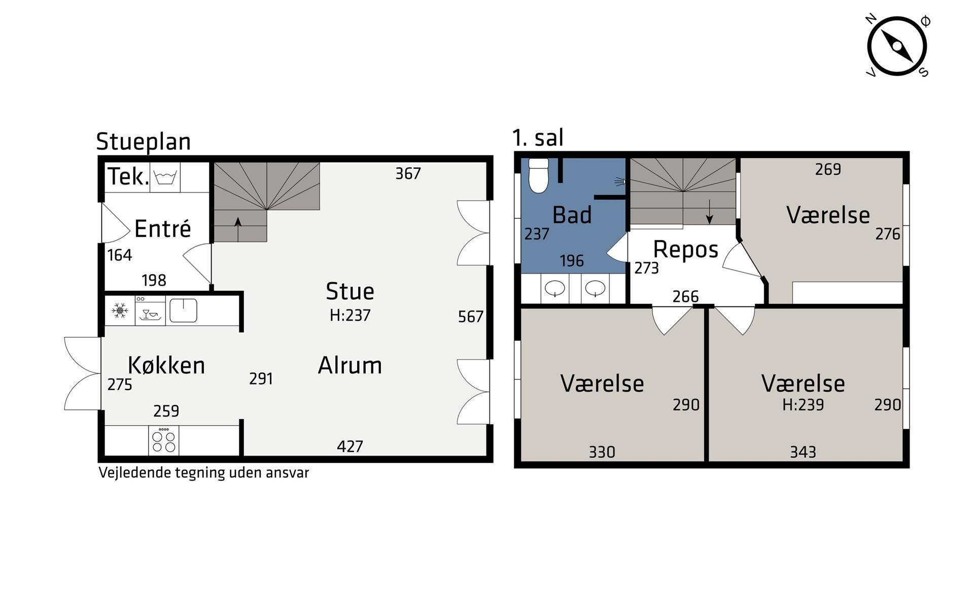 Rækkehus på Skæringvangen i Egå - Plantegning