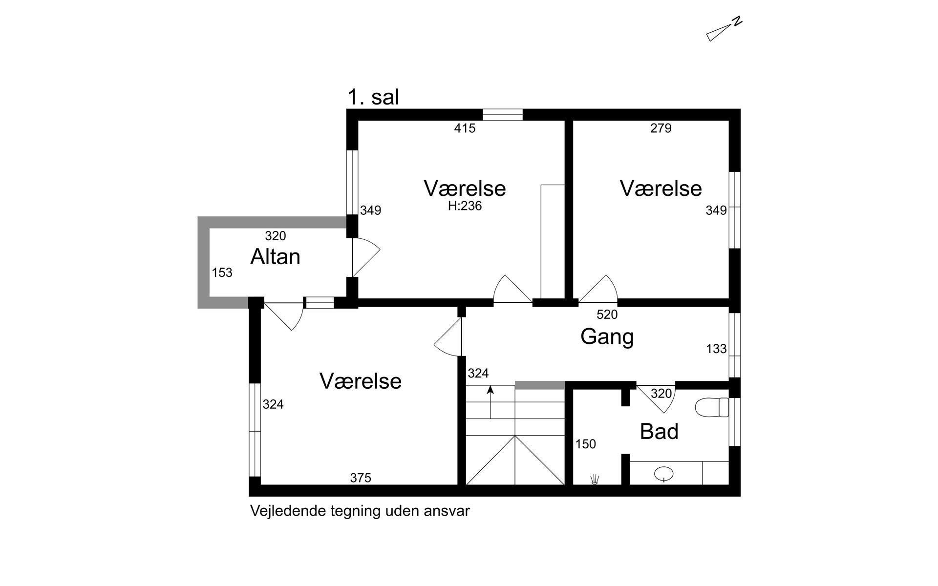Rækkehus på Lergrydevej i Kokkedal - 1. sal