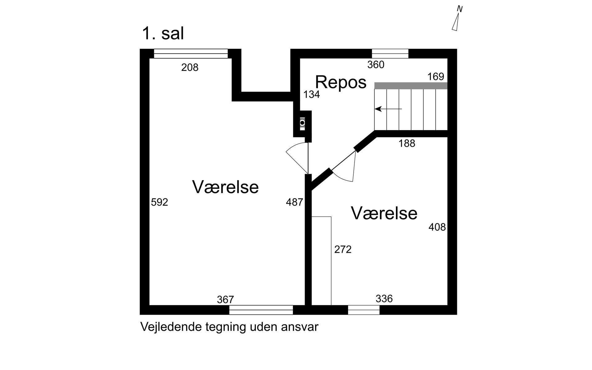 Rækkehus på Elme Alle i Korsør - 1. sal