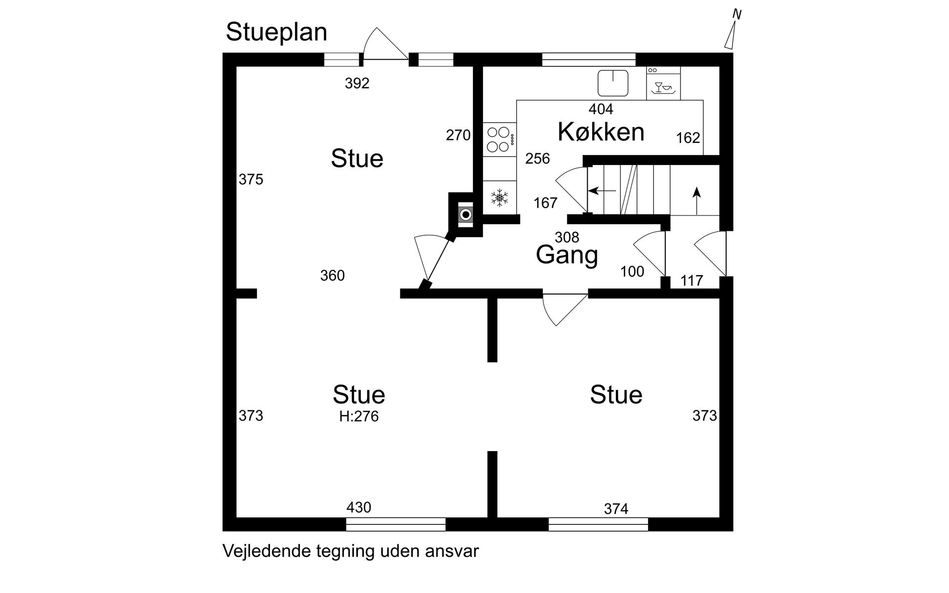 Rækkehus på Elme Alle i Korsør - Stueplan