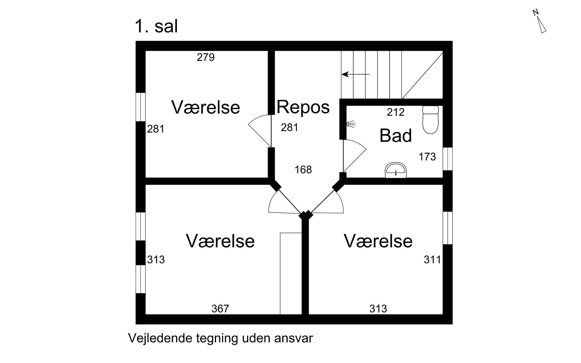 Rækkehus på Revvej i Korsør - 1. sal