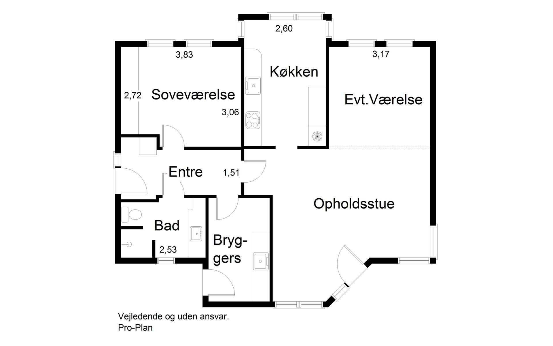 Andelsbolig på Oversøvej i Sønderborg - Plantegning