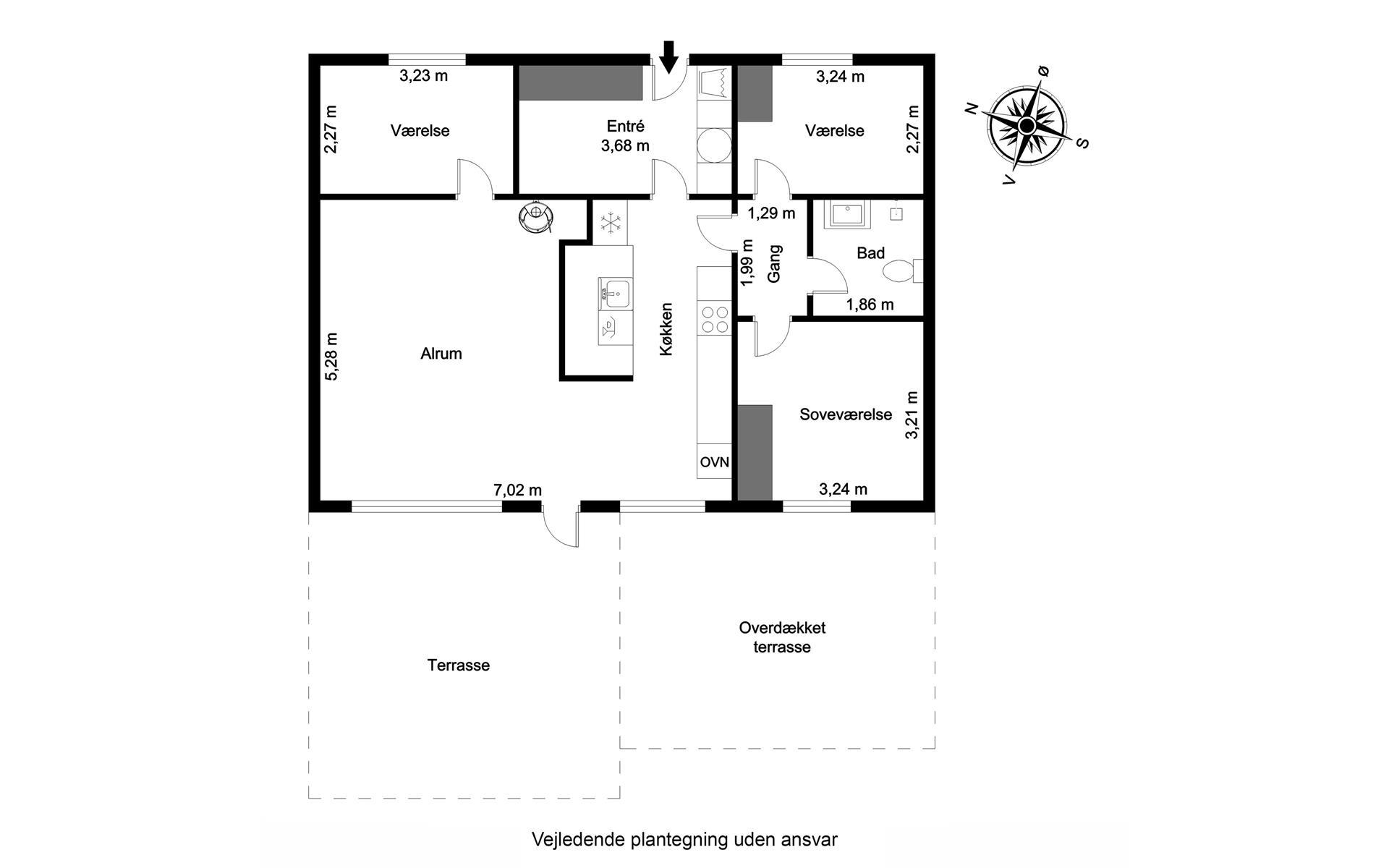 Rækkehus på Hedelyngen i Viborg - Plantegning