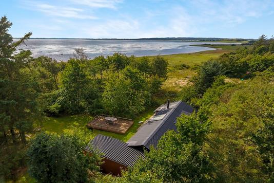 Fritidsbolig på Fløjlsanden i Aabybro - Luftfoto
