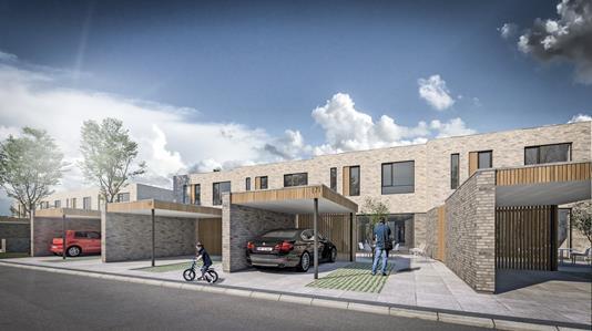 Rækkehus på Poul Anker Bechs Vej i Aalborg SV - Facade