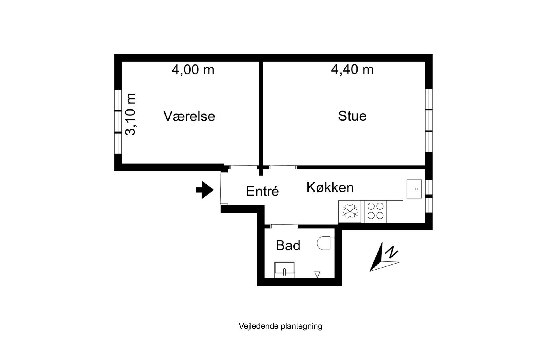 Andelsbolig på Niels Juels Gade i Aarhus N - Plantegning
