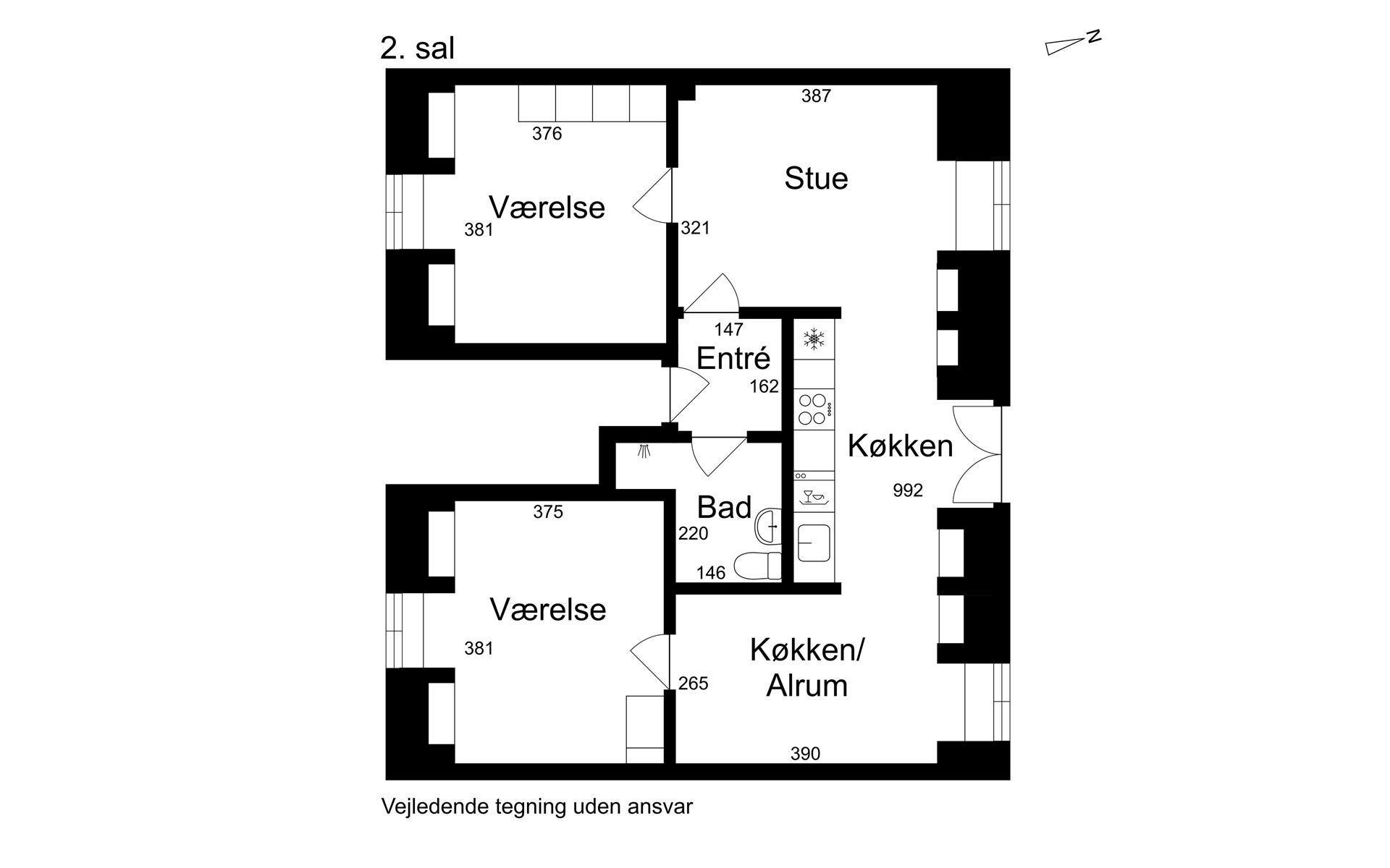Villalejlighed på Nyportstræde i Køge - 2. sal