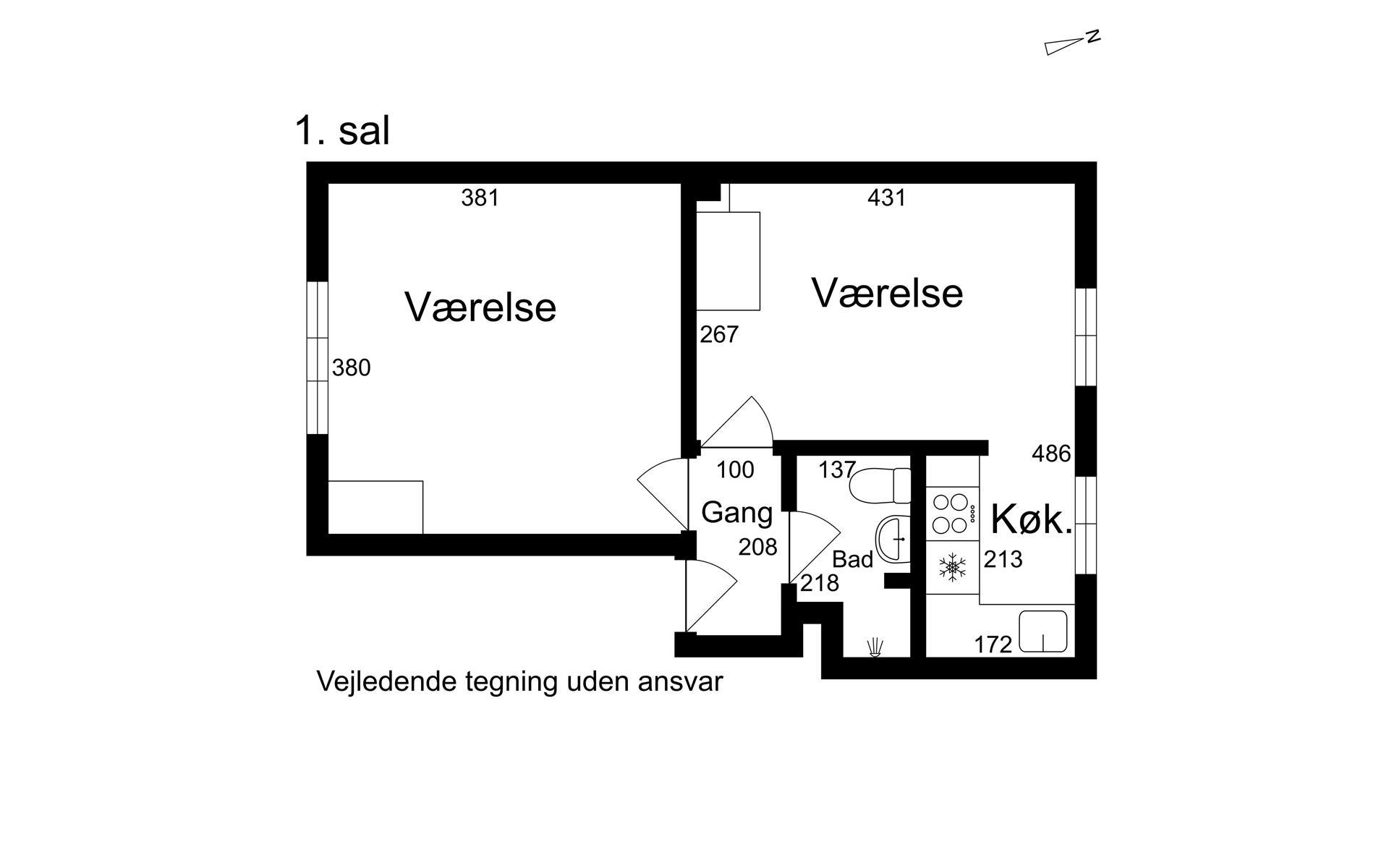 Villalejlighed på Nyportstræde i Køge - 1. sal