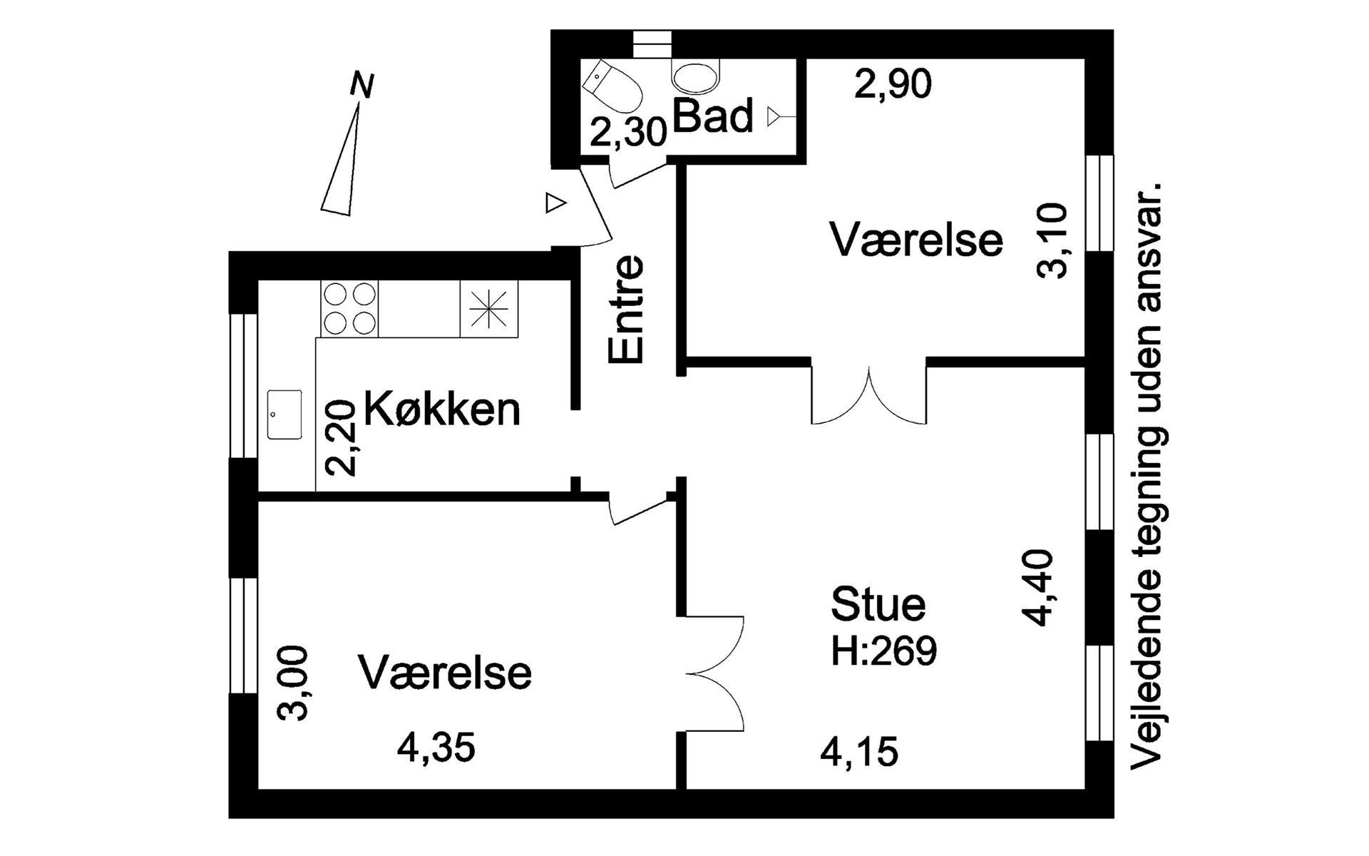 Villalejlighed på Vestre Allé i Valby - Plantegning