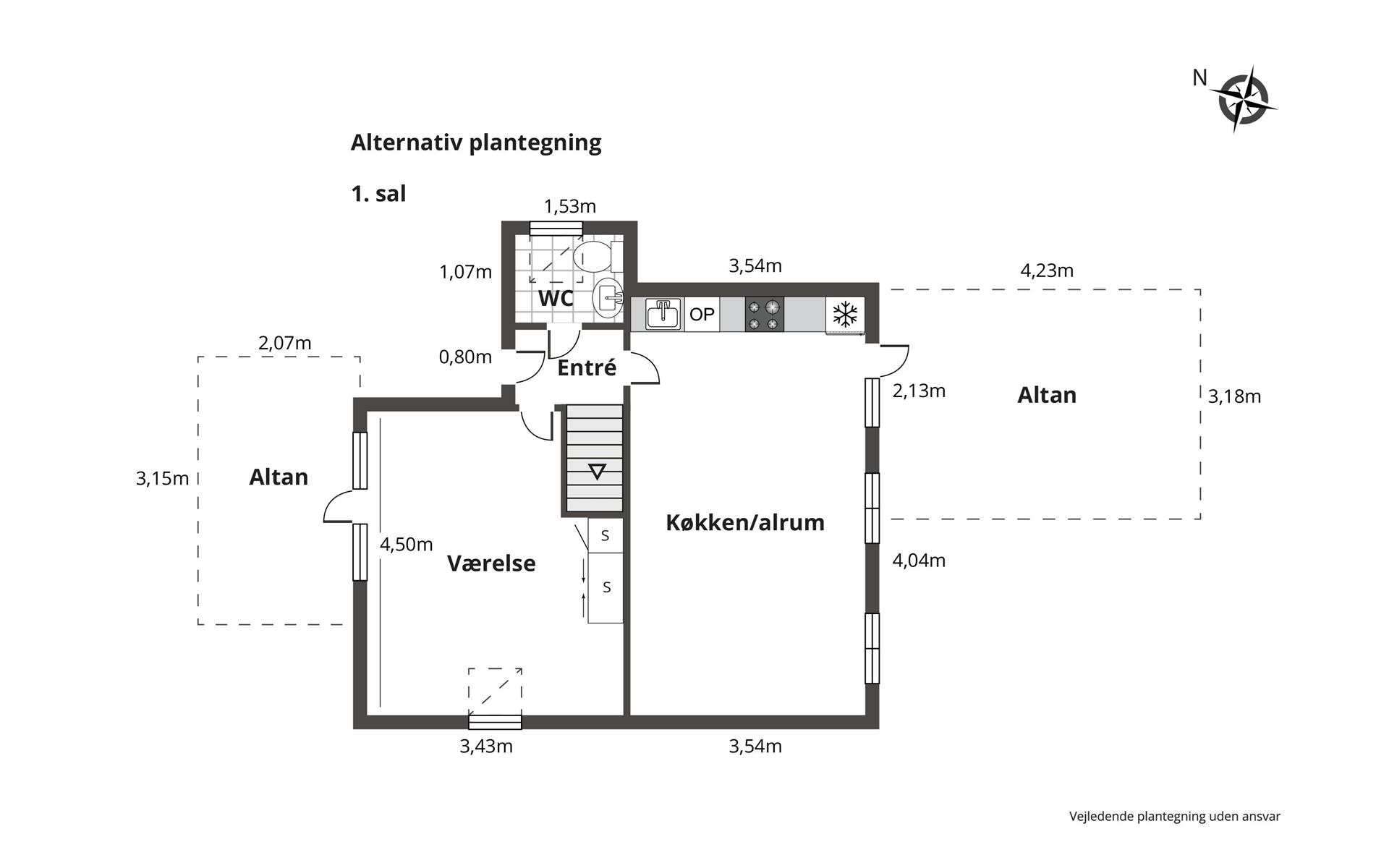 Villalejlighed på Skolevangen i Brønshøj - Plantegning