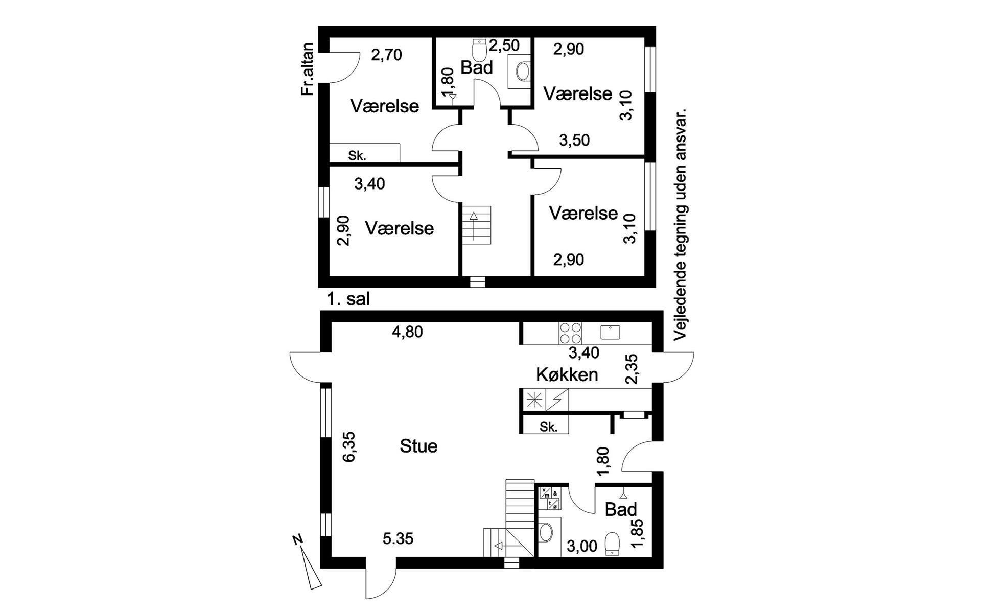 Rækkehus på Gaaseager i Glostrup - Plantegning