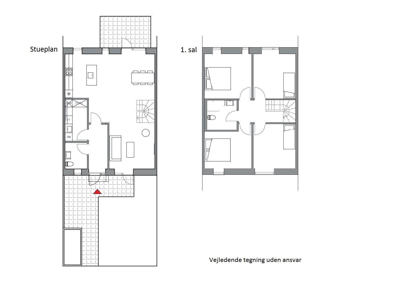 Rækkehus på Østergårds Alle i Hørning - Plantegning