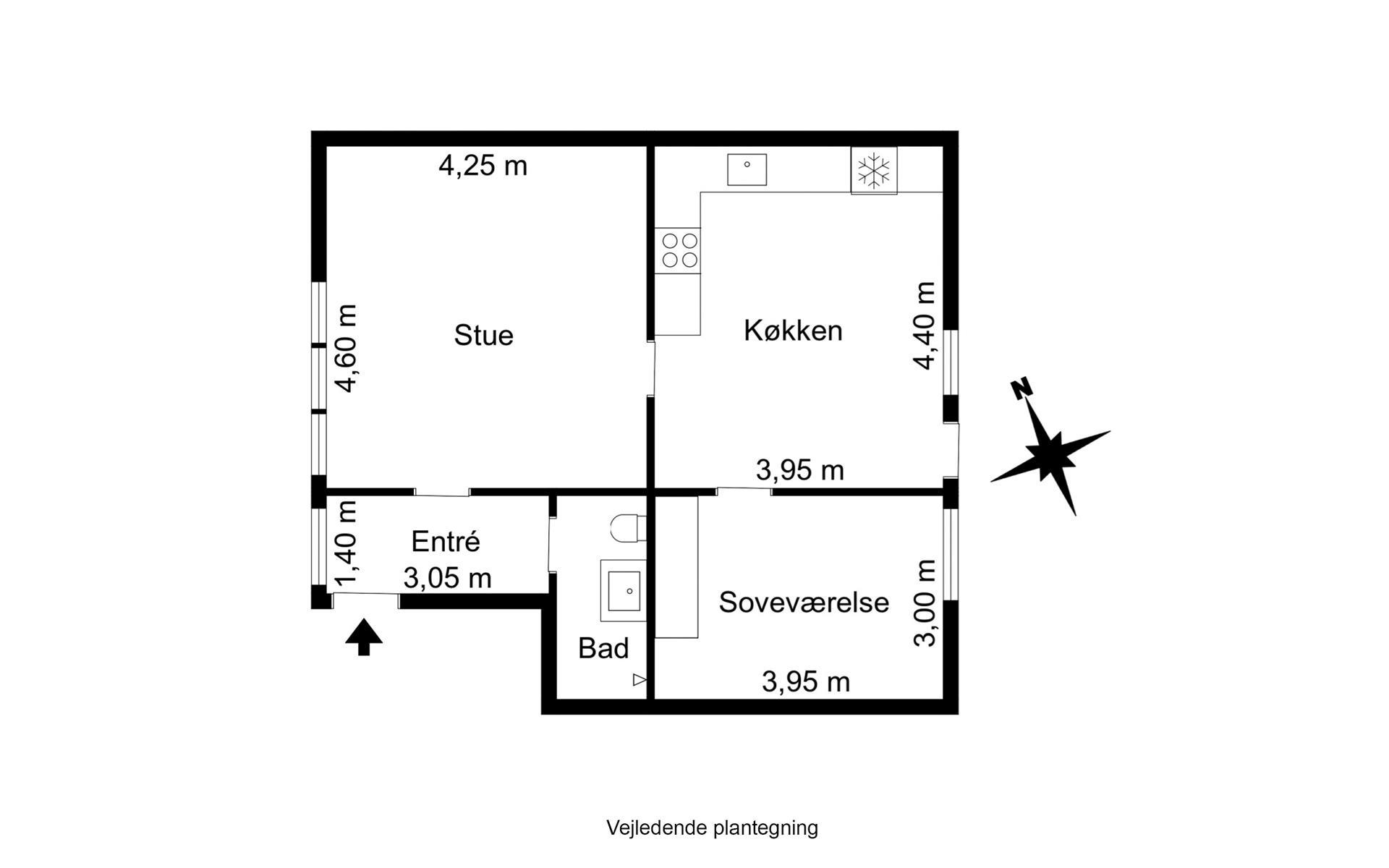 Andelsbolig på Nørregade i Rudkøbing - Plantegning