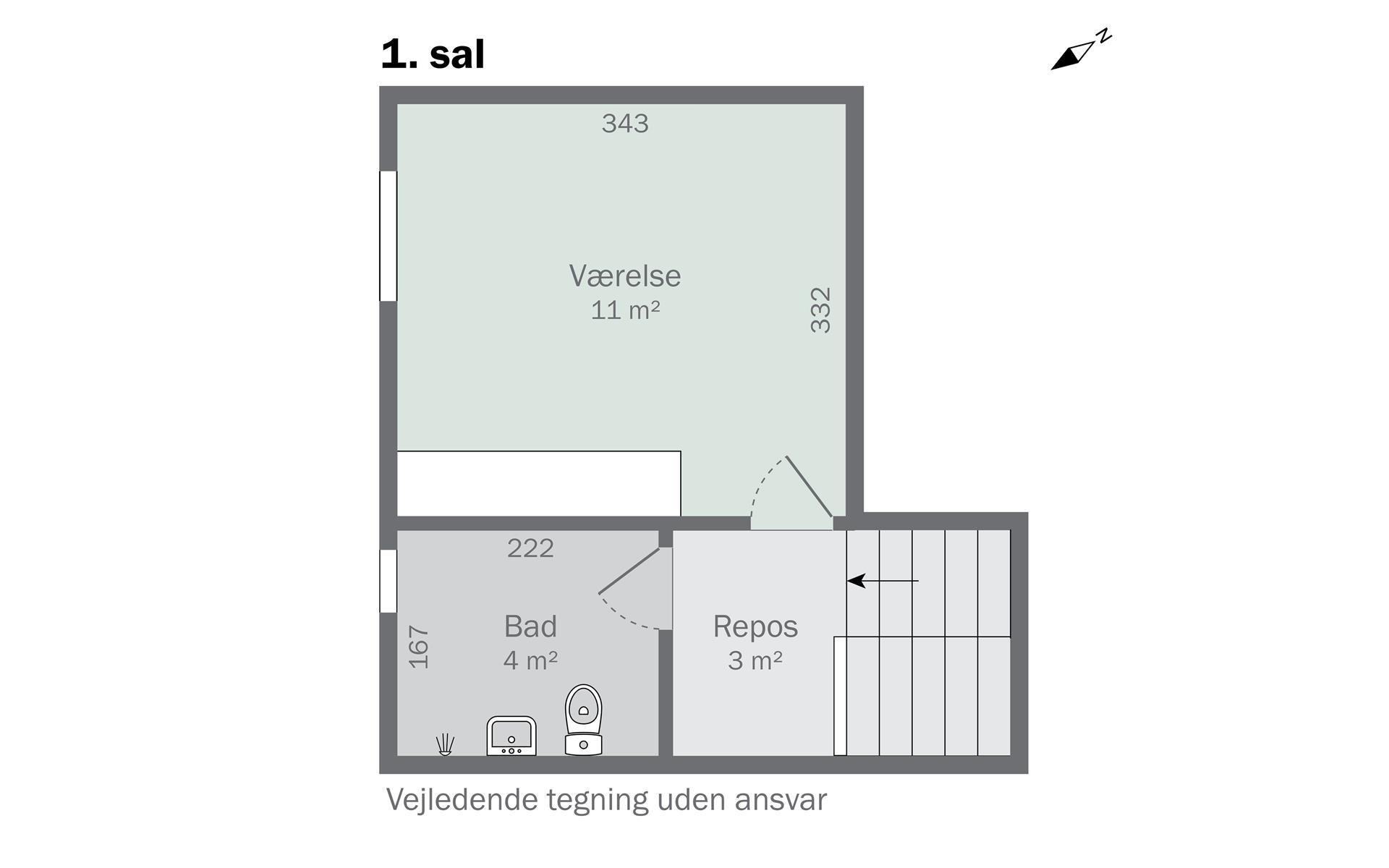 Rækkehus på Kildestrædet i Skovlunde - 1. sal