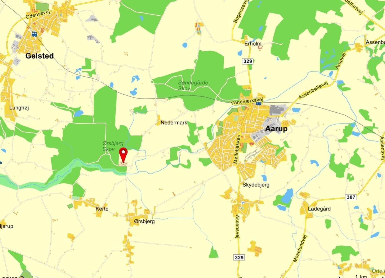 Landejendom på Kohavebakken i Aarup - Kort