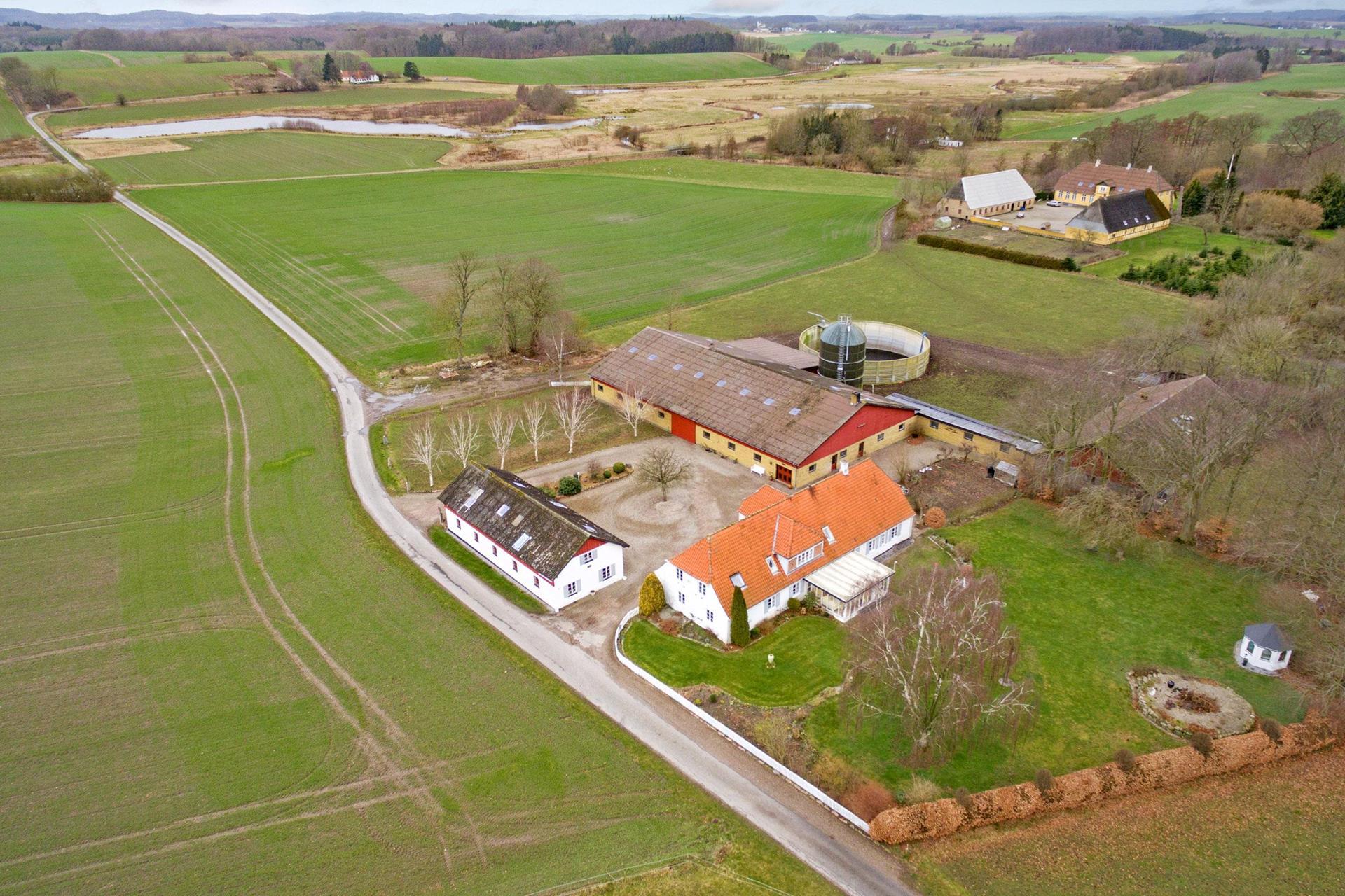 Landejendom på Rodalsvej i Faaborg - Luftfoto